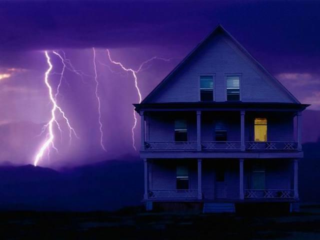 lightning behind house