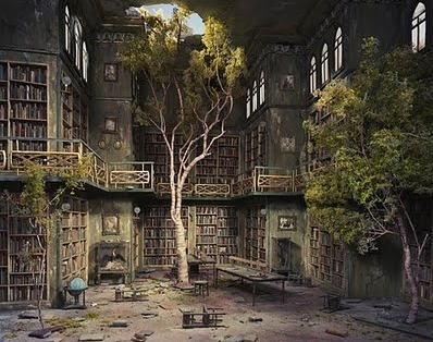 Photos of Strange Places for Stories Abandoned Library with Trees Inside
